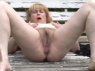 chunky mature with bushy snatch outdoors by troc