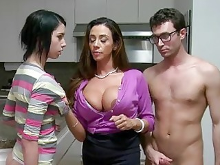 stepmom milf lets boy facial ball batter his gf