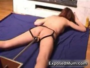 kinky mommy muff drilled by a dildo