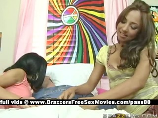 youthful honeys in daybed get a blowjob
