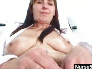 mature mommy karin shows off hairy wet crack