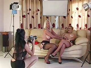 photo shooting with 8 ladys in heels and nylons