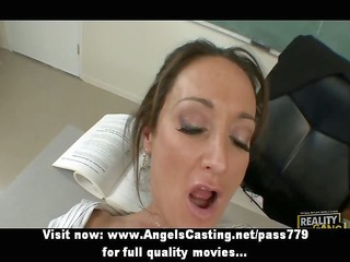 hot dark brown teacher has pussy licked and does