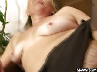 horny granny opens hairy pussy for hot young son