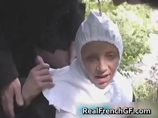 slutty french nun fucked outside porno part9
