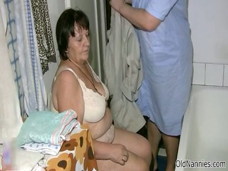 messy obese old woman acquires her body rubbed