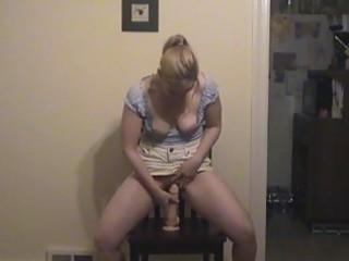 blonde milf masturbates solo with her big dildo