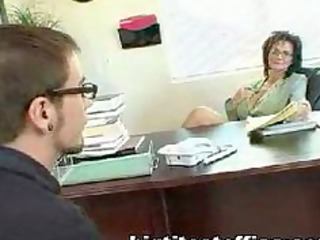 aged mom fucks computer repairman in her office