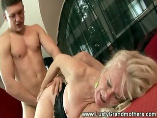wild granny in stocking hairy pussy group-fucked