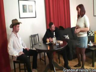 poker playing granny is drilled by guys
