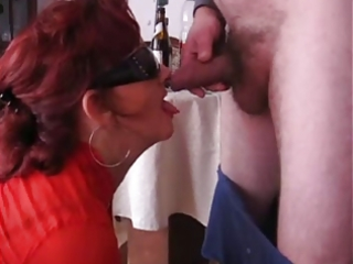 older whore drinking and sucking cock!