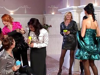 pretty milfs in sexy dresses having group sex at