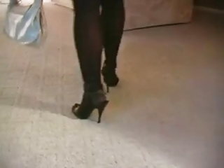 sexy blond milf smoking in nylons and heels