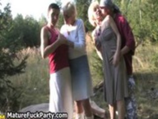 group of concupiscent old mom having sex
