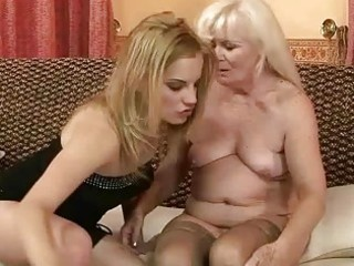 ugly granny enjoying lesbo sex with hot girl
