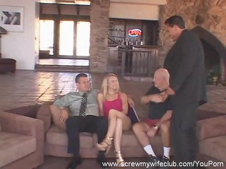 cute golden-haired wife: screwed, hubby says yes!