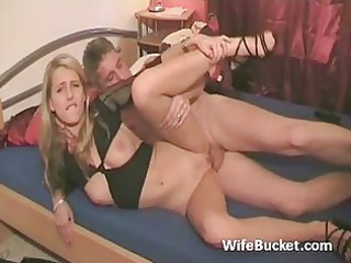 excited guy with younger wife