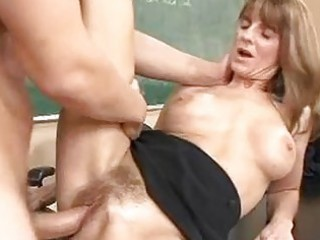 pale aged brunette hair gets her shaggy twat