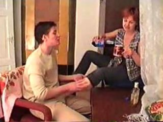 drunk mature mamma drilled on the carpet by