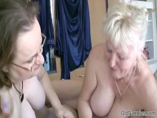 sexually excited old granny sucking a dick