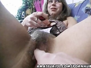hirsute amateur wife toys and rides a weenie with