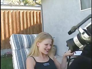 blonde tramp takes cock in backyard with panties