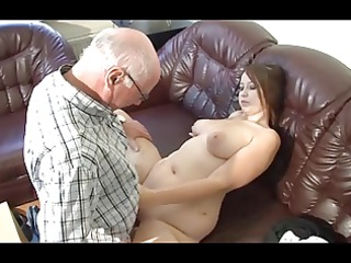 german old man makes young cutie concupiscent