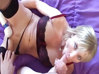 sexy blonde milf doing handjob, blow job and gets