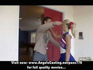 cute cheerleader exercising and flashing pants