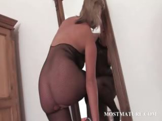hot milf in hose riding sextoy