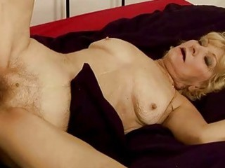 granny gets her shaggy snatch drilled hard
