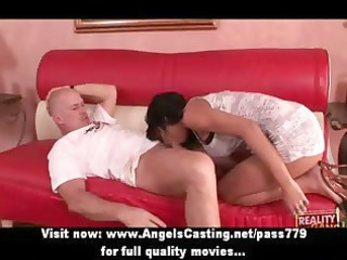 naughty brunette milf with a gun does blowjob and
