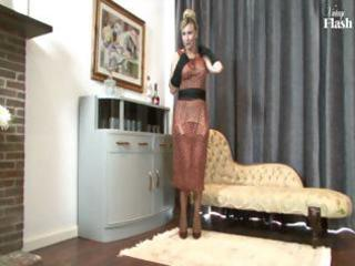 golden-haired milf undresses and uses her sexy