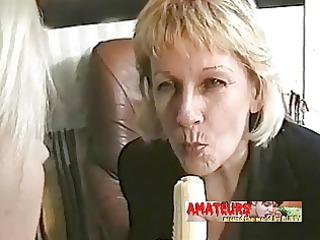 old lesbos eating banana and make foot worship